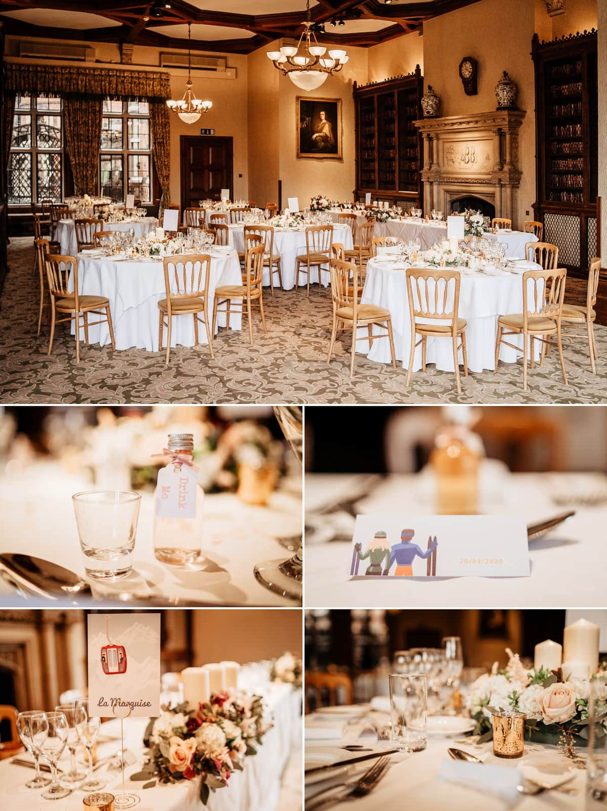 wedding breakfast set up in the library at the elvetham