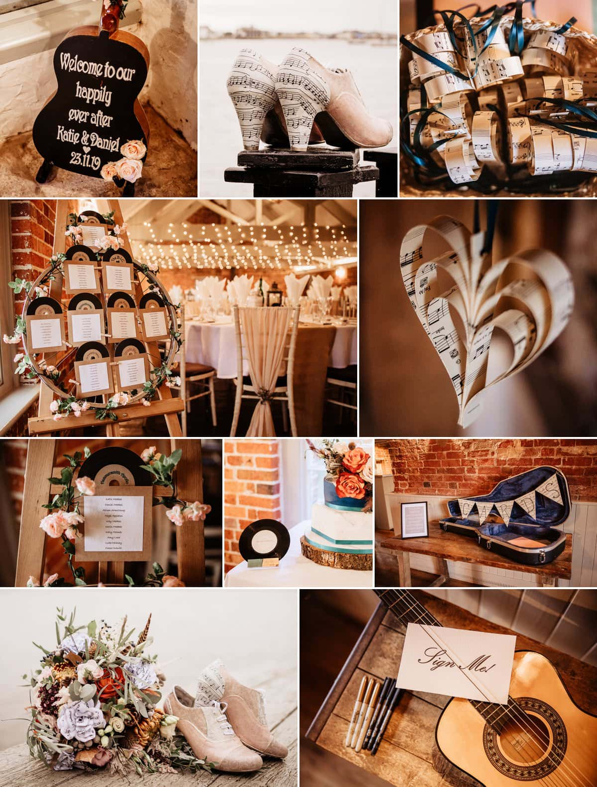 styling for music themed wedding at Sopley Mill