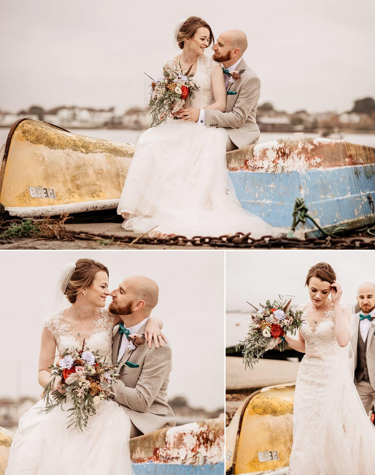 Wedding photoshoot on Mudeford Quay