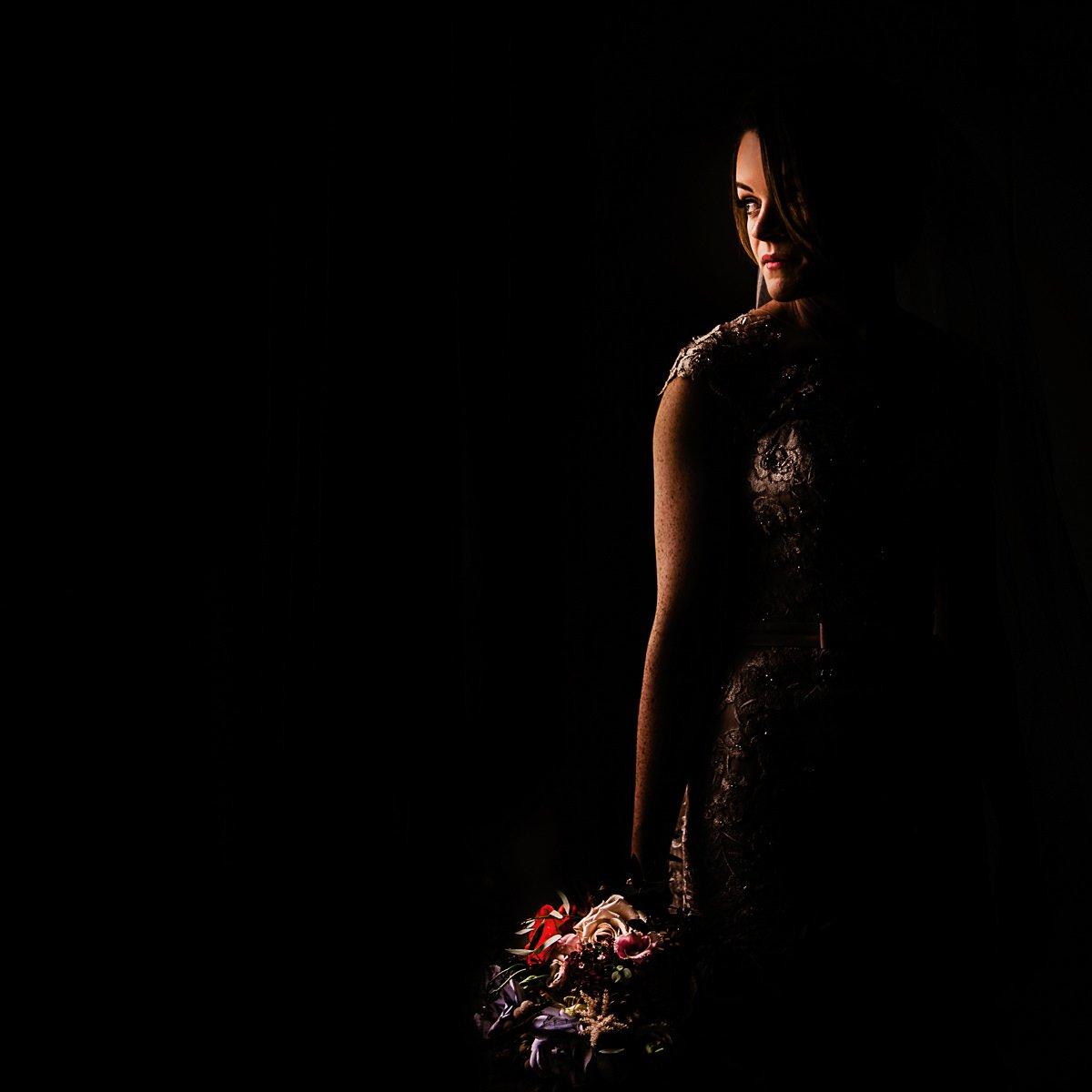 bridal portrait using window light